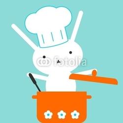Obraz na płótnie canvas czteroczęściowy tetraptyk królik-szef kuchni
