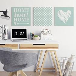 Home sweet home - komplet trzech obrazów , wymiary - 90cm x 90cm 3 sztuki