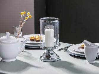 Świecznik  lampion szklany na nóżce altom design srebrny 13 x 26,5 cm