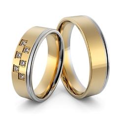 Obrączki ślubne dwukolorowe z brylantami - au-999