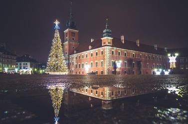 Warszawa zamek królewski zimowy plac zamkowy - plakat premium wymiar do wyboru: 100x70 cm