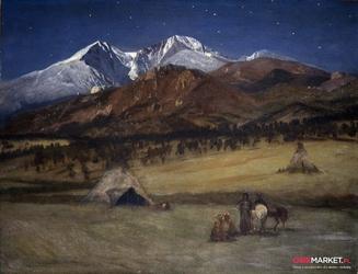 obozowisko indian wieczorem - albert bierstadt ; obraz - reprodukcja