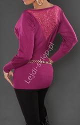 Wizytowa fioletowa wpadająca w róż bluzka dzianinowa  sweter o kroju nietoperza  8055