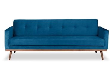 Sofa klematisar z funkcją spania welurowa 3-osobowa  deluxe - welur łatwozmywalny petrol