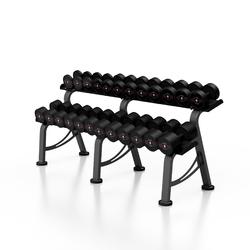 Zestaw hantli stalowych gumowanych 5-32,5 kg czarny połysk ze stojakiem m mp-hsgk2-m-k1 - marbo sport