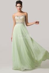 Suknia z kryształkami, jasny pastelowy zielony