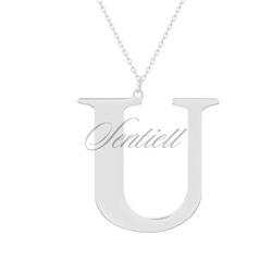 Srebrny naszyjnik pr.925 literka u - rodowanie  u