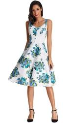 Sukienka w kwiaty odcieniach niebieskiego, w stylu pin-up, stylowe retro