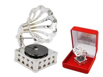 Posrebrzany gramofon swarovski grawer prezent urodziny chrzest