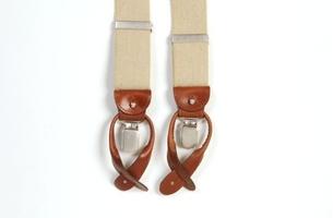 Beżowe szelki męskie do spodni, uniwersalne z jasnobrązowym zapięciem na guziki lub klipsy