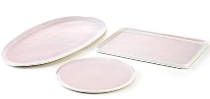 Talerz owalny - półmisek, porcelanowy, różowy eter verlo v-85003-6