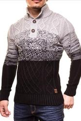 Ciepły męski sweter crsm - czarno-szary 9503-2