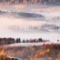 Rudawy janowickie, mglisty ranek - plakat premium wymiar do wyboru: 84,1x59,4 cm