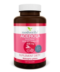 ACEROLA ekstrakt 500mg 25 witaminy C x 120 kapsułek
