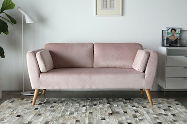Sofa dwuosobowa catlyn l różowa welur