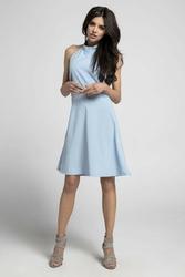 Błękitna trapezowa letnia sukienka wiązana na karku