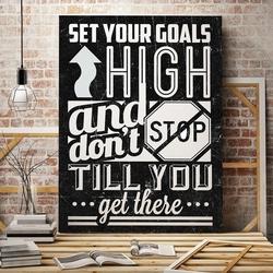Set your goals high - modny obraz motywacyjny , wymiary - 50cm x 70cm