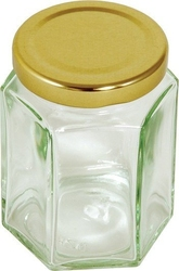Sześciokątny słoik ze złotą pokrywką 228 g