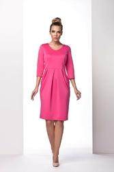 Różowa sukienka bombka z długim rękawem