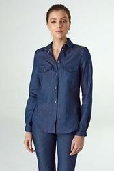 Jeansowa koszula zapinana na zatrzaski