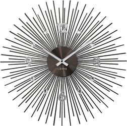Zegar silk antracytowy ze srebrnymi detalami lavvu crystal lines  lct1143-0 średnica 49 cm