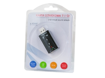Elmak savio ak-01 karta dźwiękowa usb 7.1, 16bit sound, plug  play, blister