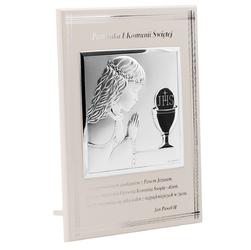 Obrazek srebrny biały panel dziewczynka pamiątka na i komunia św. grawer - wliczony w cenę