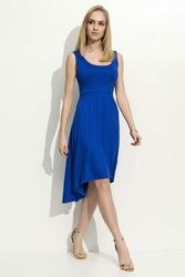 Chabrowa Sukienka Z Wydłużonym Tyłem