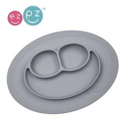 Silikonowy talerzyk z podkładką mały 2w1 mini mat szary