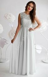 Biała skromna sukienka z gipiurową koronką na biuście, 1275