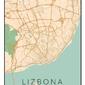 Lizbona mapa kolorowa - plakat wymiar do wyboru: 21x29,7 cm