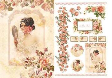 Papier ryżowy Calambour 33x48 cm kobieta róże