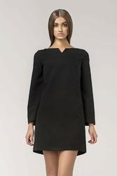 Trapezowa czarna sukienka z rękawem 78
