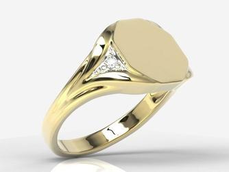Sygnet wykonany z żółtego złota z diamentami sj-18z-r - wysyłka w następny dzień roboczy - sprawdź dostępność