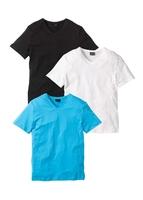 T-shirt z dekoltem w serek 3 szt. bonprix biały + turkusowy + czarny