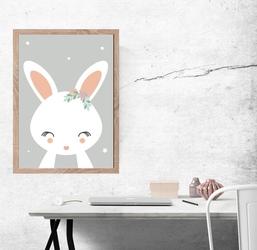 Królik szare tło - plakat wymiar do wyboru: 21x29,7 cm