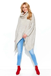 Luźny sweter z golfem z wydłużonymi bokami - beżowy