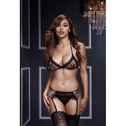 Sexshop - komplet ze stanikiem i majteczkami - baci leopard  lace bra top  garter  panty  - online