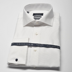 Elegancka biała koszula męska taliowana slim fit, mankiety na spinki 43