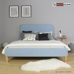 Łóżko podwójne tapicerowane 140 x 200 cm niebieskie