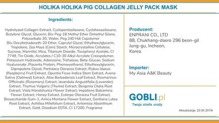Holika holika pig collagen jelly pack, maseczka nawilżająco-regenerująca skórę twarzy 80g