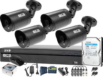 Zestaw do monitoringu bcs po skrętce rejestrator bcs-xvr0801 4x bcs-tqe4200ir3-g dysk 1tb