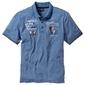 Shirt polo z efektownym zdobieniem bonprix niebieski dżins