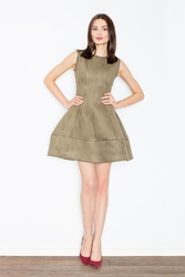 Oliwkowa mocno rozkloszowana mini sukienka