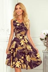 Sukienka elegancka rozkloszowana na szerokich ramiączkach - liście