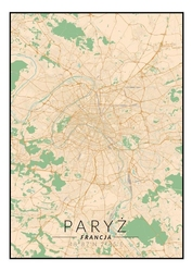 Paryż mapa kolorowa - plakat wymiar do wyboru: 50x70 cm