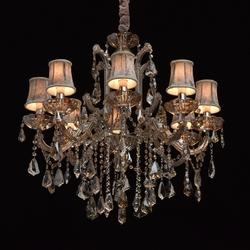 Luksusowy, 8- ramienny żyrandol kryształowy, aksamitne klosze chiaro crystal 475010208