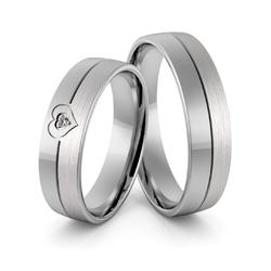 Obrączki ślubne z białego złota niklowego z sercem i brylantem - au-965