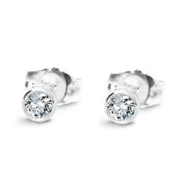 Staviori kolczyki. 2 diamenty, szlif brylantowy, masa 0,10 ct.,białe złoto 0,585.