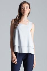 Szara delikatna dwuwarstwowa bluzka na szerokich ramiączkach